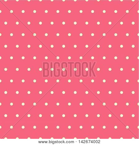Seamless vector pattern with beige dots on red background.
