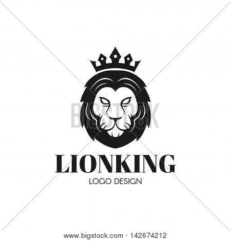 Head of a fierce crowned lion logo depicting royalty in a black and white design suitable for bussines or t-shirt design