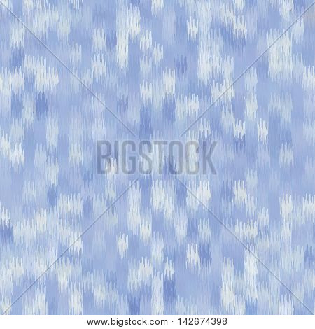 Seamless geometric pattern, based on ikat fabric style. Vector illustration. Abstact blue background. Blurred blue background.