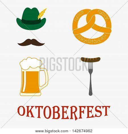 Octoberfest icon set: petzel, beer stein, sausage, hat. Oktoberfest beer festival design elements. Colorful vector illustration.