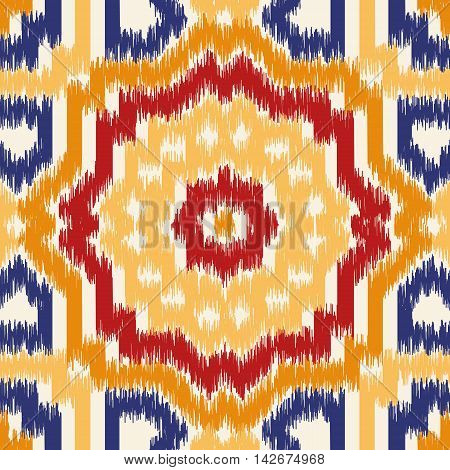 Seamless geometric pattern based on ikat fabric style. Vector illustration.