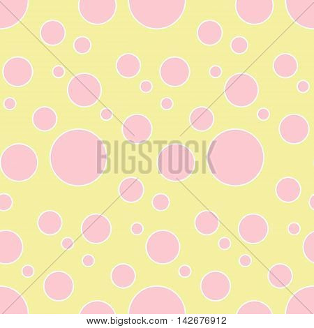 Seamless vector pattern with pink dots on yellow background.