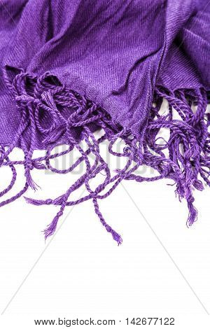 Purple scarf with tassels isolated on white background.