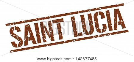 Saint Lucia stamp. brown grunge square isolated sign