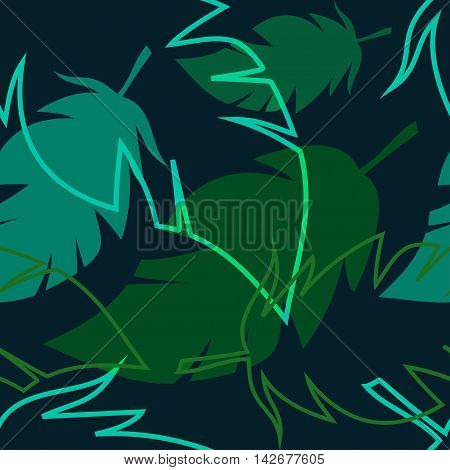 dark tropical pattern with palm leaves, vector seamless pattern