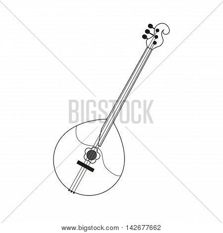 vector illustration circuit outline of a domra in black and white. Coloring musical instrument, logo symbol.