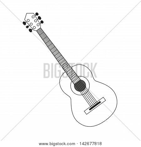 vector illustration circuit outline of a guitar in black and white. Coloring musical instrument, logo symbol.