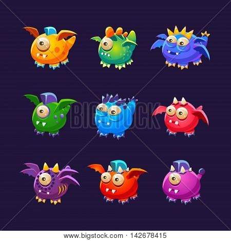 Little Alien Monsters With And Without Wings Set Of Bright Color Vector Icons Isolated On Dark Background. Cute Childish Fantastic Animal Characters Design.