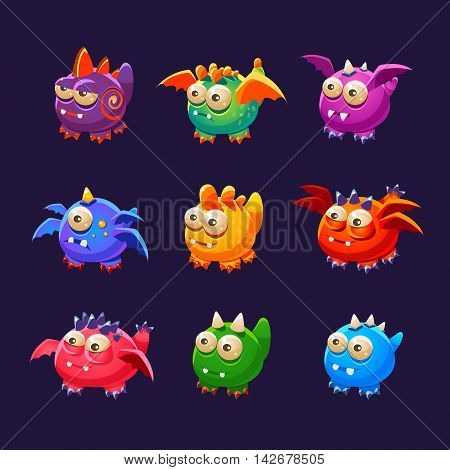 Little Alien Monsters With And Without Wings Collection Of Bright Color Vector Icons Isolated On Dark Background. Cute Childish Fantastic Animal Characters Design.