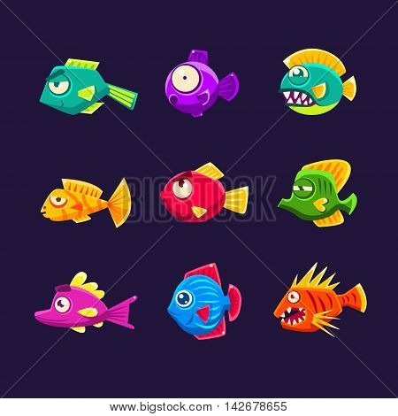 Colorful Tropical Fish Set Of Bright Color Vector Icons Isolated On Dark Background. Cute Childish Fantastic Animal Characters Design.