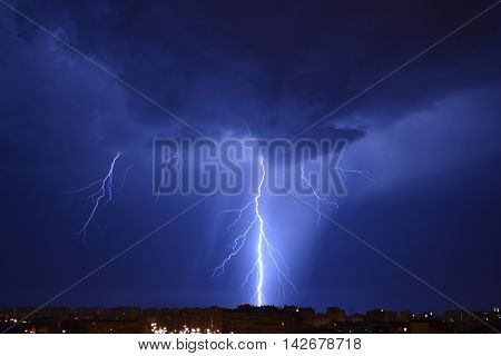lightning, lightnings, flash. rain, thunderstorm, night, flash at night