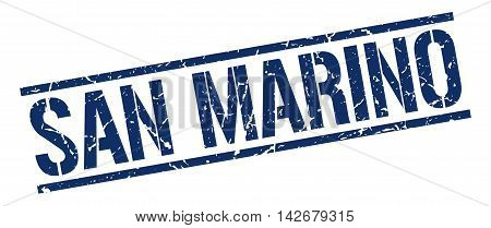 San Marino stamp. blue grunge square isolated sign