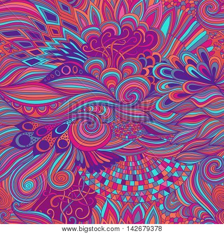 Seamless pink pattern abstract background with colorful ornament. Hand draw illustration, coloring book zentangle. Algae sea motif