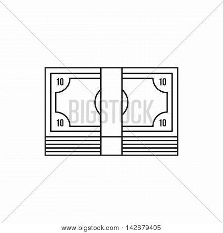 Bundle of money icon in outline style isolated on white background. Finance symbol vector illustration