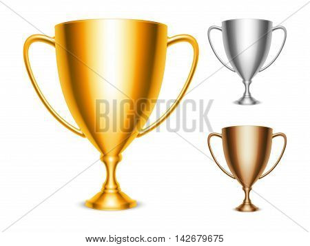 Golden, silver and bronze trophy cup icons isolated on white background