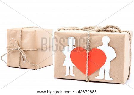 Gifts in creative boxes isolated on white background.