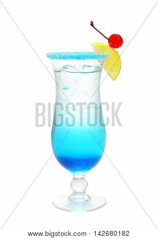 Blue alcohol cocktail with cherry on white background