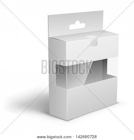 Blank white product packaging box with the hanger cut and transparent display membrane vector template for applying individual design.