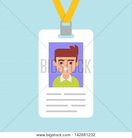 Id card vector icon in a flat style isolated from the background. Illustration of an identity card or badge for any events conferences.