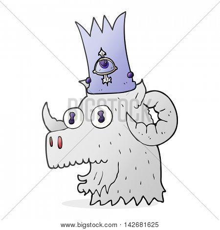 freehand drawn cartoon ram head with magical crown