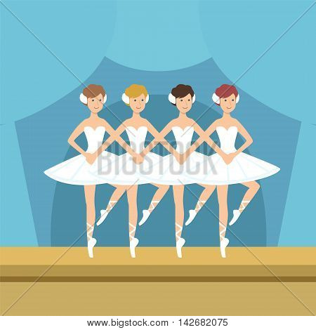 Four Ballerinas Little Swans Dance Performance Simplified Graphic Drawing In Bright Colors. Show On Stage Flat Vector Illustration