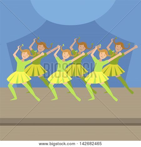 Kids Synchronized Modern Dance Performance Simplified Graphic Drawing In Bright Colors. Show On Stage Flat Vector Illustration
