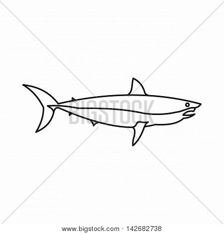 Shark icon in outline style isolated on white background. Fish symbol vector illustration