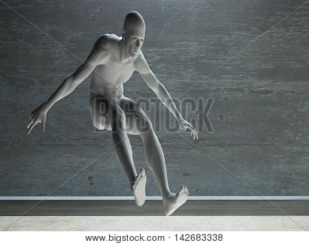 Athletic Male Figure in White 3D Rendered