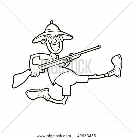 Funny running hunter holding rifle and wearing safari clothes