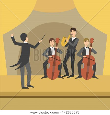 Trio With Saxophone And Two Cellos With Their Director Performing Simplified Graphic Drawing In Bright Colors. Show On Stage Flat Vector Illustration