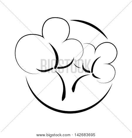 Cotton logo. Linear cotton symbol. Isolated illustration. Vector icon.