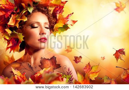 Autumn Woman Portrait - Beauty Fashion Model Girl - With Red Leaves