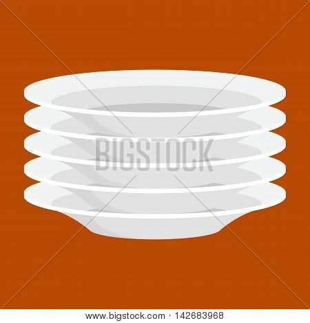 Empty white ceramic plate in stack, isolated clean kitchenware vector illustrtion. Plate for dinner