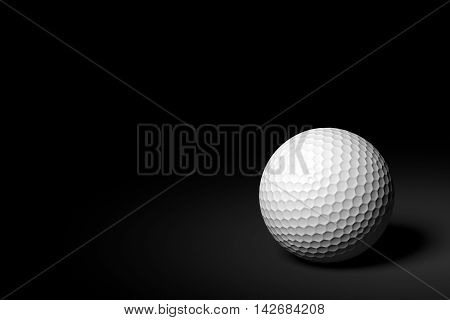 3D rendering of golf ball on black background.