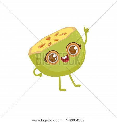 Soursop Girly Cartoon Character.Childish Design Sticker With Humanized Bright Color Fruit Character.