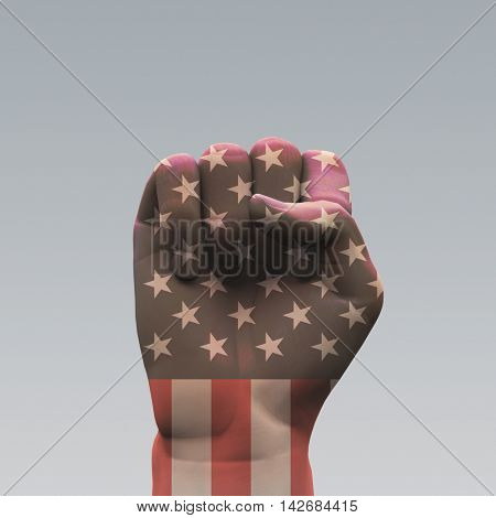 USA Flag Clenched Fist 3D Rendered