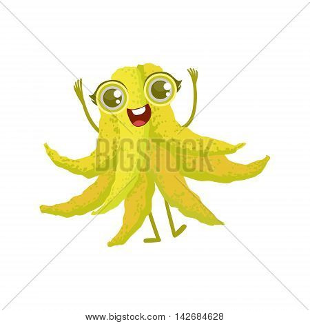 Buddha s Hand Girly Cartoon Character.Childish Design Sticker With Humanized Bright Color Fruit Character.