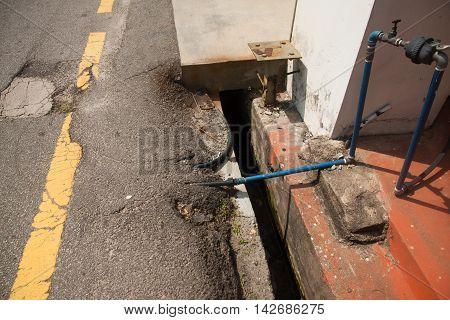 Water pipes unter the street. Malaka, Malaysia