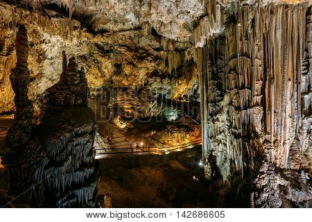 Stalactites And Stalagmites In The Famous Nerja Caves, In Nerja, Malaga Province, Andalusia, Spain.