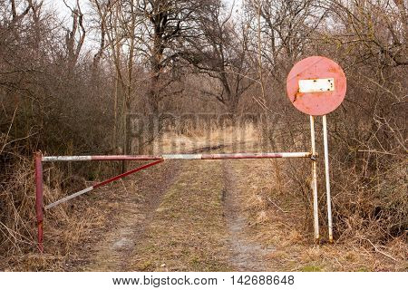 No entry sign on road in autumn forest