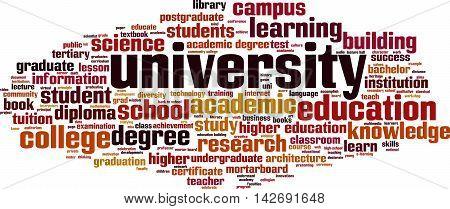 University word cloud concept. Vector illustration on white