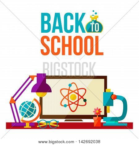 Back to school poster with school education symbols, flat style illustration isolated on white background. Start of school season concept, computer microscope lamp globe and glasses