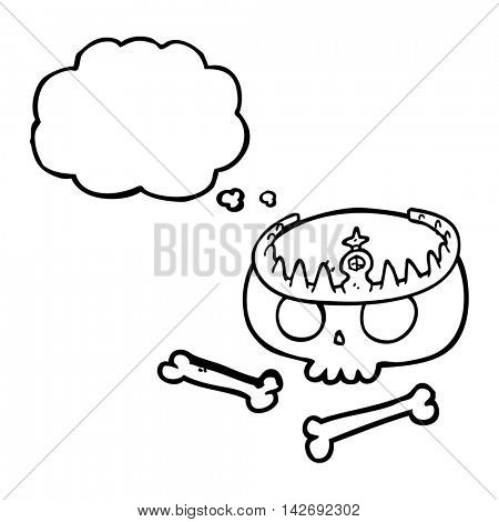 freehand drawn thought bubble cartoon skull wearing tiara