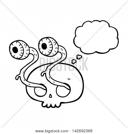 gross freehand drawn thought bubble cartoon skull with eyeballs