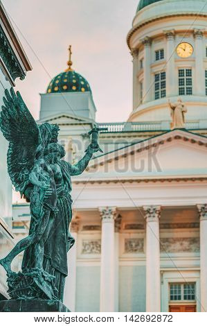 Element Of Statue Of Emperor Alexander II Of Russia Before The Helsinki Cathedral Background