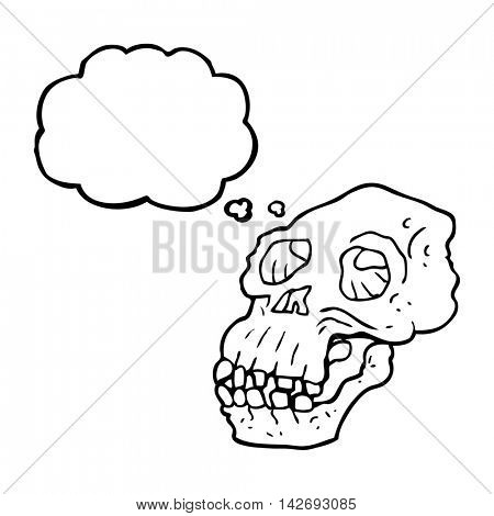 freehand drawn thought bubble cartoon ancient skull