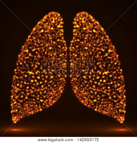 Abstract glowing human lung. Vector illustration. Eps 10