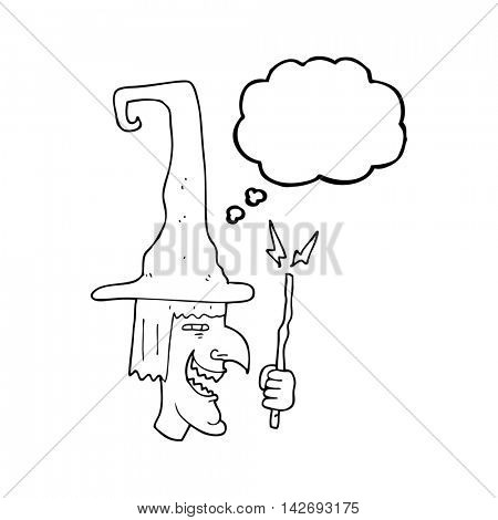 freehand drawn thought bubble cartoon laughing witch