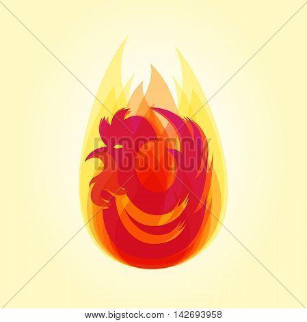 Silhouette of red cock in flame. Chinese calendar for year of fiery rooster 2017. Vector element for New Year's design.