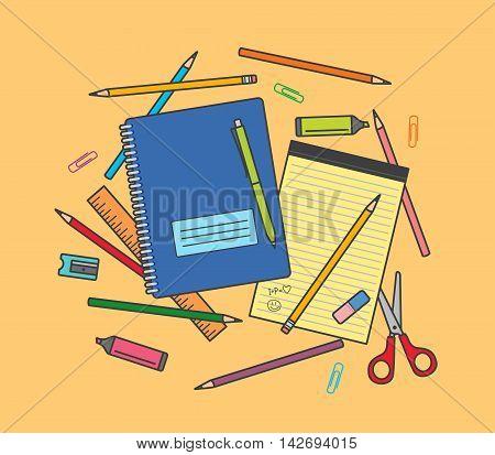School supplies on orange background: notebook, pencils, pen, ruler, scissors, eraser, pencil sharpener, highlighter pen etc.